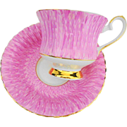 Grosvenor retro tea cup and saucer, unique brushed pink