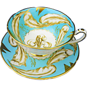 Royal Grafton brown feather turquoise tea cup and saucer