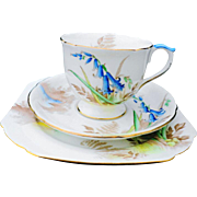 Shelley bluebell ascot tea cup and saucer trio, dainty teacup
