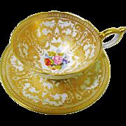 Aynsley JA Bailey gold tea cup and saucer