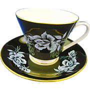 Aynsley raised rose glossy black tea cup and saucer