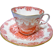 Aynsley terracotta pagoda tea cup and saucer c.1905