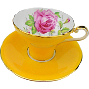 Aynsley corset large pink rose yellow tea cup and saucer