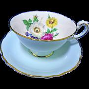 Paragon dainty sky blue tea cup and saucer