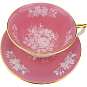 Aynsley white raised rose pink tea cup and saucer