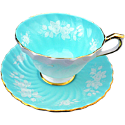 Aynsley raised rose turquoise swirl tea cup and saucer