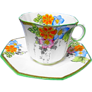Art Deco style MELBA painted tea cup and saucer