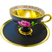 """NC Western German """"Black Beauty"""" rose demi cup and saucer"""