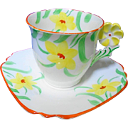 Collingwood flower handle tea cup and saucer