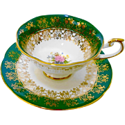 Queens Rosina rose emerald green gold tea cup and saucer