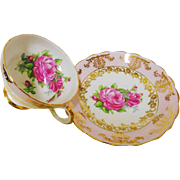 Queens Rosina pink gold rose tea cup and saucer