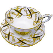 Royal Stafford black gold ribbon tea cup and saucer