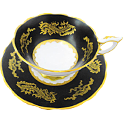 Royal Stafford gold dragon black tea cup and saucer