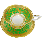 Royal Stafford gold etch buckingham tea cup and saucer