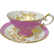 1 Crown Staffordshire MAUVE gold pedestal tea cup and saucer