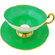 Old Royal green gold tea cup and saucer
