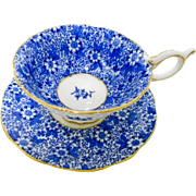 Coalport flow blue chintz tea cup and saucer, petals