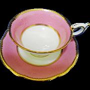 Coalport UNIQUE texture pink tea cup and saucer