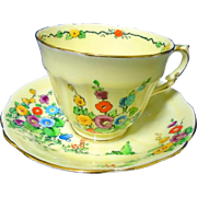 Crown Staffordshire Holly Hocks butterfly tea cup and saucer