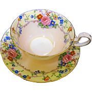 Aynsley pink rose border tea cup and saucer