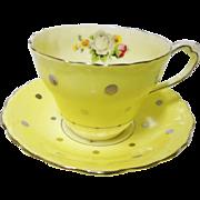 Paragon SILVER Polka dot rose tea cup and saucer