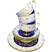 8 PC Star Paragon Cobalt Gold tea cup and saucer set