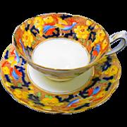 Star Paragon Painted Bird AUTUMN color tea cup and saucer
