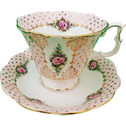 Royal Albert pink rose gold Pierrette tea cup and saucer