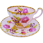 EB Foley Roses Gold Blush pink tea cup and saucer
