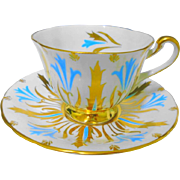 Royal Chelsea Turquoise enamel gold tea cup and saucer