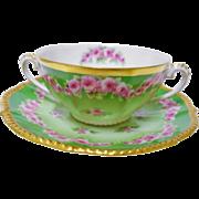 1 Elite Works Limoges Cream Soup bowl, rose wreath
