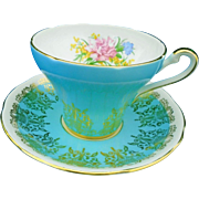 Royal Stafford Carnation turquoise tea cup and saucer