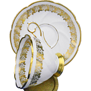 Royal Stafford Golden roses swirl tea cup and saucer