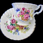 Royal Albert Pink rose basket tea cup and saucer