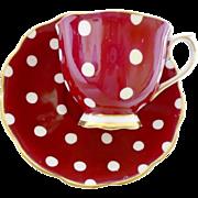 Royal Albert Polka dot red tea cup and saucer