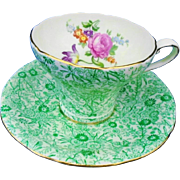 Aynsley green chintz pink rose corset tea cup and saucer