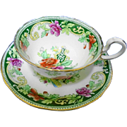 Aynsley birds & roses tea cup and saucer, c.1905.