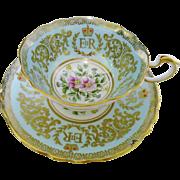 Paragon Queen Elizabeth pastel blue coronation Tea cup and saucer,  Commemorative royalty teacup