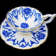 Coalport flow blue Garland of roses tea cup and saucer