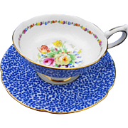 Royal Doulton flow blue chintz tea cup and saucer