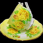 Royal Albert rainbow pastel yellow tea rose tea cup and saucer, gold trim teacup