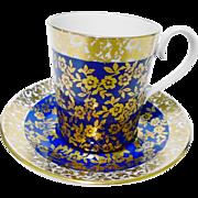 Royal Albert Kingston tall demi tea cup and saucer, cobalt