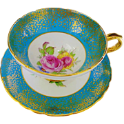 Stanley pink yellow rose tea cup and saucer, teal