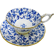 Coalport Boysenberry chintz flow blue tea cup and saucer, wide mouth teacup