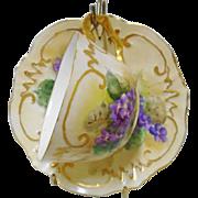 Elite Works Limoges VIOLETS gold tea cup and saucer