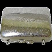 MODA Ornate Monogram silver plate lipstick holder, mini purse