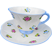 Shelley FOOTED Dainty rose pansy forget me not teacup