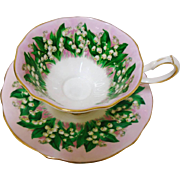 Queen Anne Lily of the Valley pink tea cup and saucer