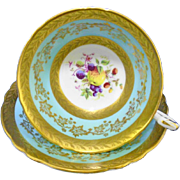 Paragon Gold Etch fruit turquoise tea cup and saucer