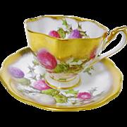 Queen Anne heavy gold Brigadoon tea cup and saucer